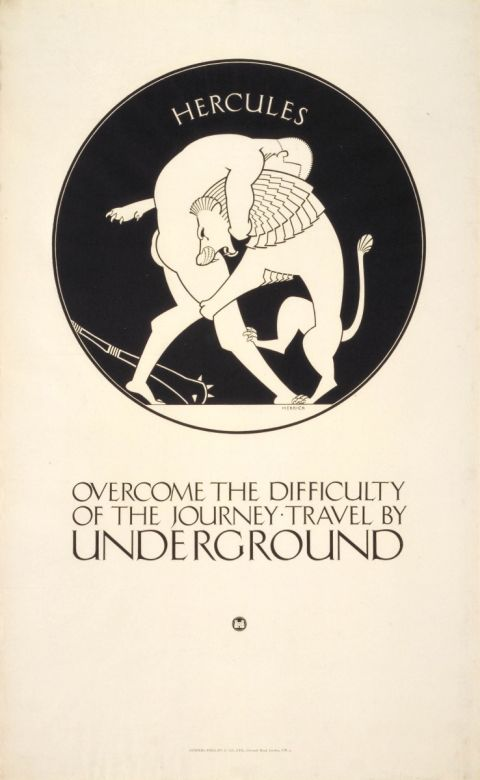 Overcome the difficulty of the journey; Hercules, by Frederick Charles Herrick, 1921