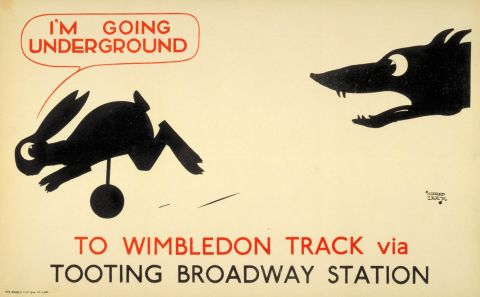 I'm going Underground; to Wimbledon Track, by Alfred Leete, 1928