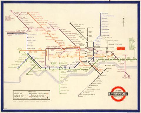 London Transport Railways Map 1933 30x40 print