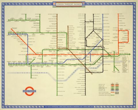 London Transport Railways Map 1948 30x40 print