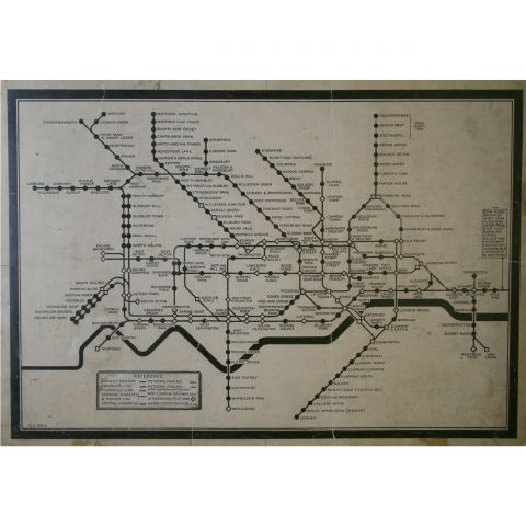 Ink Drawing of Diagrammatic Tube map, Harry Beck, 1932