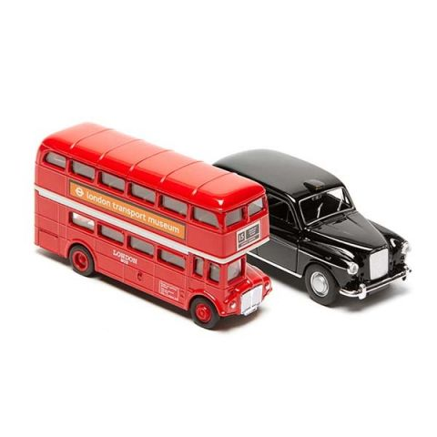 Routemaster Bus and Black Taxi Model Set - Large