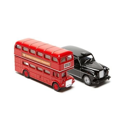Routemaster Bus and Black Taxi Model Set - Small