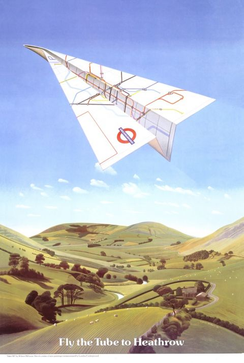 Fly The Tube to Heathrow, by Wilson McLean, 1986