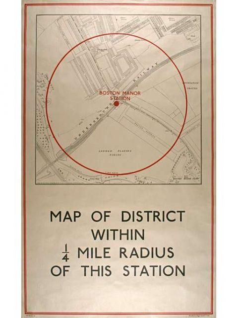 Local area map; Boston Manor station, artist unknown, 1934