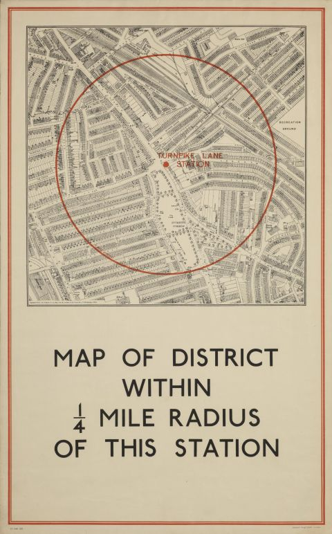 Map Of District Within 1/4 Mile Radius Of Turnpike Lane Station, artist unknown, 1937