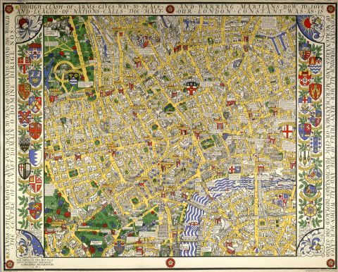 Map of central London, by MacDonald Gill, 1932