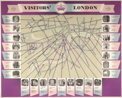 Visitors' London map, by Beath (John M Fleming) and Peter Roberson, 1953