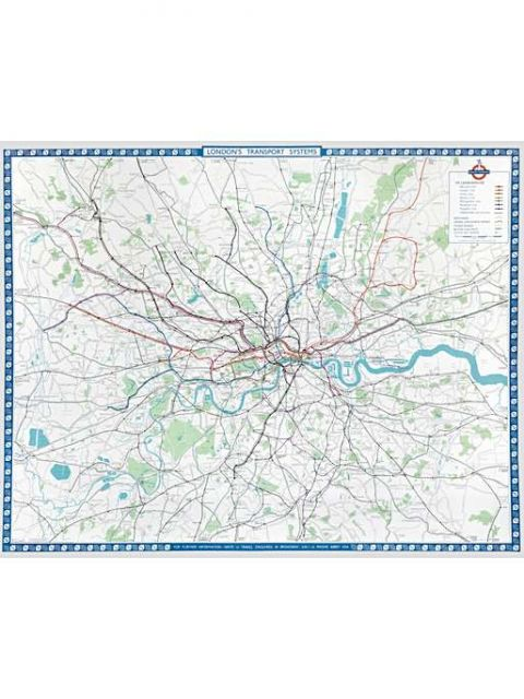 Poster map; London's transport systems, by B G Lewis, 1962