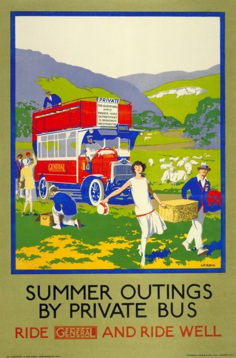 Summer Outings by Private Bus 30x40 print