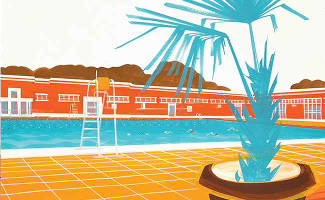 Orange and blue poster depicting a lido