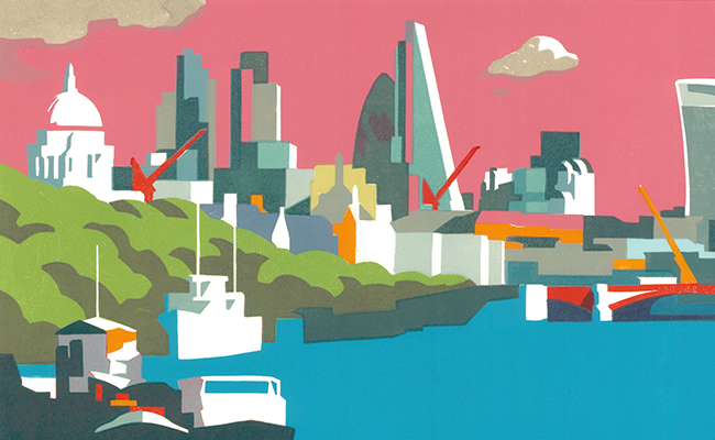 Stylistic artwork of London's skyline with a pink sky