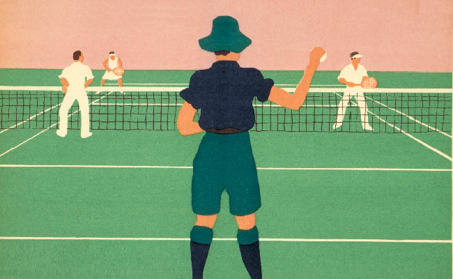 Artwork of an umpire and three tennis players on a tennis court